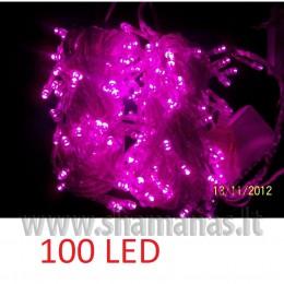 100 LED , 8m, mirksejimai, permatoma, violetinė