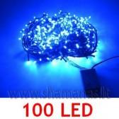 100 LED , 6.5m, mirksejimo režimai,  mėlynos spalvos