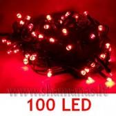 100 LED , 8m, mirksejimo režimai, raudonos spalvos