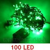 100 LED , 8m, mirksejimo režimai,  žalios spalvos