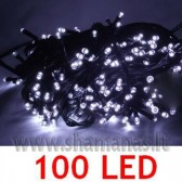 100 LED, 6.5m, mirksejimo režimai,  šaltai balta
