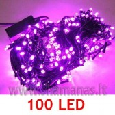 100 LED , 8m, mirksejimo režimai, rožinės spalvos