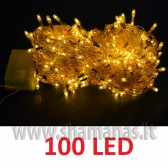 100 LED , 8m, mirksejimai, permatoma, geltona